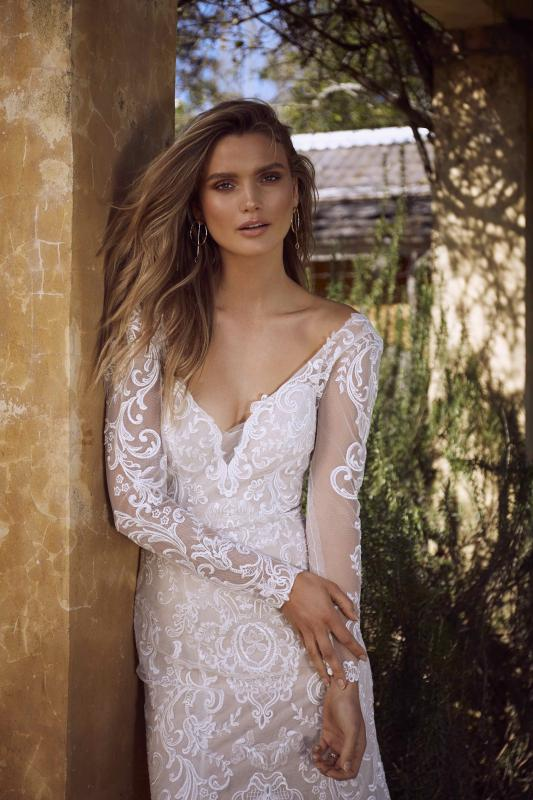 Estelle Ml7118 Long Sleeve Sheer Lace Low Back V Neck Plunge Wedding Dress Madi Lane Luv Bridal 10