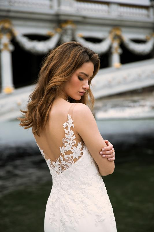 Farryn Ml0394 Plunging Neckline Fitted Gown With Lace Bodice And Satin Skirt Tulle And Lace Straps And Detachable Train Wedding Dress Madi Lane Bridal2
