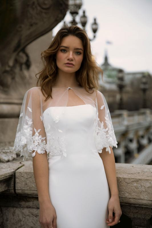 Finley Cape Ml0153c Tulle And Lace Cape For Finley Wedding Dress Madi Lane Bridal2