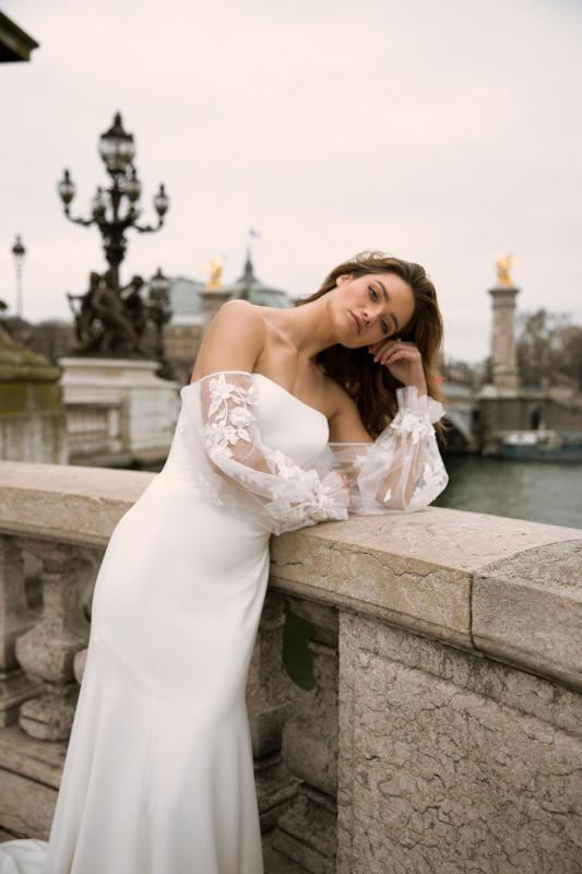 Finley Ml0153 Straight Neckline Satin Gown With Off Shoulder Tulle And Lace Balloon Sleeves Zip And Button Up Back Wedding Dress Madi Lane Bridal5