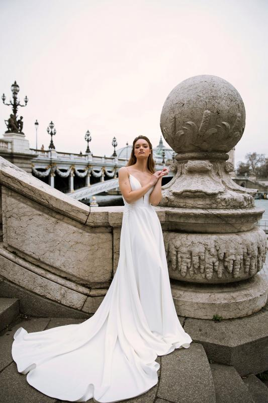 Fleur Ml0507 Plunging Neckline Satin Gown With Spaghetti Straps Low Back And Zipper Wedding Dress Madi Lane Bridal2