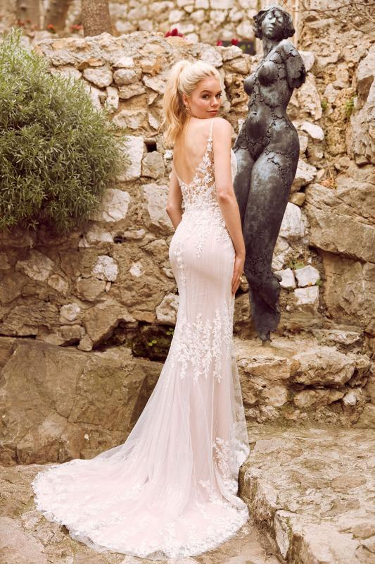 Hunter Ml8119 Fitted Lace Gown With Plunging Neckline Spaghetti Straps Low Back And Zipper Wedding Dress Madi Lane Bridal2