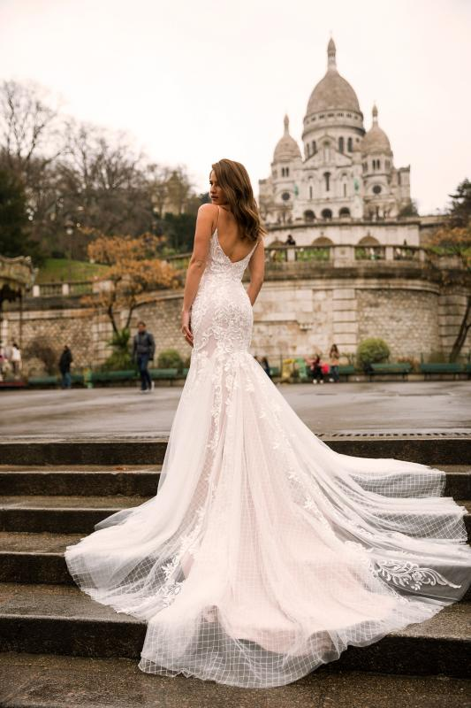Imaya Ml7219 Full Lace Fit And Flare Gown With Spaghetti Straps And Low Zip Up Back Wedding Dress Madi Lane Bridal1