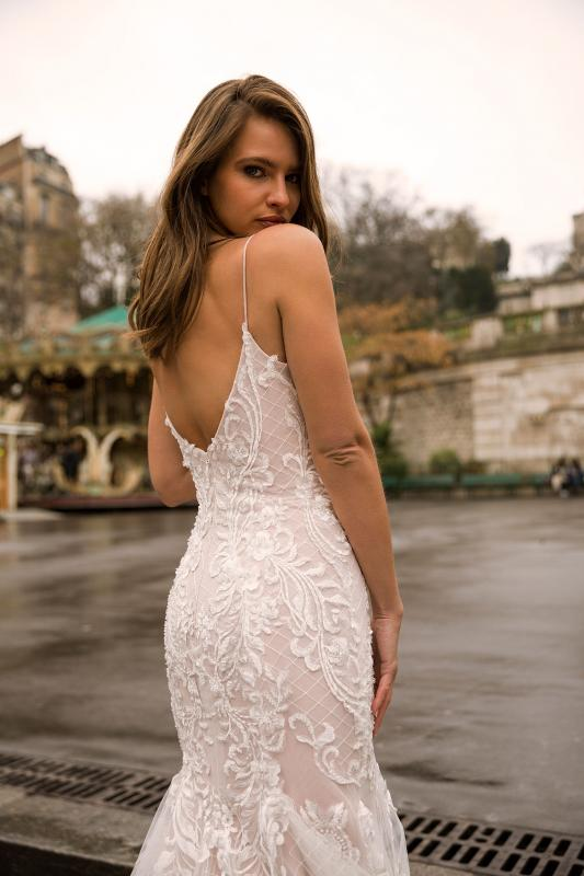 Imaya Ml7219 Full Lace Fit And Flare Gown With Spaghetti Straps And Low Zip Up Back Wedding Dress Madi Lane Bridal2