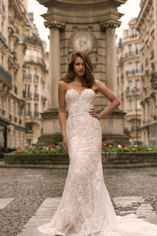 Inez Ml5219 Full Lace Fitted Gown With Sweetheart Neckline And Zip Up Back Wedding Dress Madi Lane Bridal1