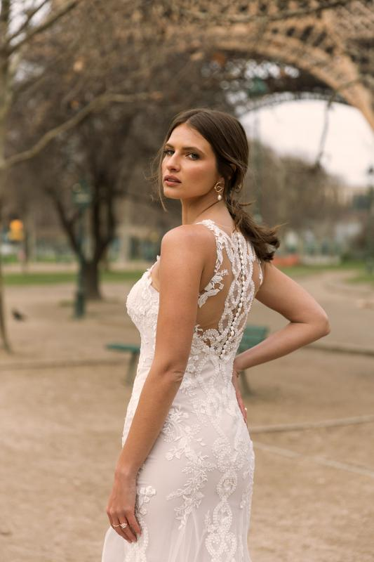 Iselle Ml6919 Fitted Lace And Tulle Gown With Sweetheart Neckline Lace Straps And Covered Back With Zip And Buttons Wedding Dress Madi Lane Bridal3