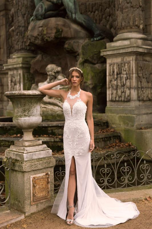 Ivana Ml7819 & Ml7819ns (no Split) Lace And Tulle Fitted Halter Neck Gown With Center Front Split With Zip And Button Up Back Wedding Dress Madi Lane Bridal1