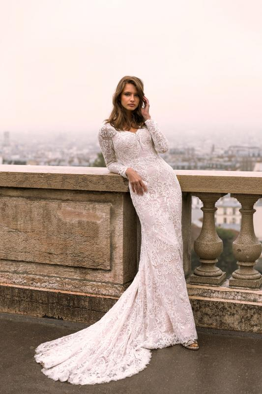 Izadore Ml7719 Full Lace Fitted Gown With Long Lace Sleeves Zip And Sweetheart Neckline Wedding Dress Madi Lane Bridal4