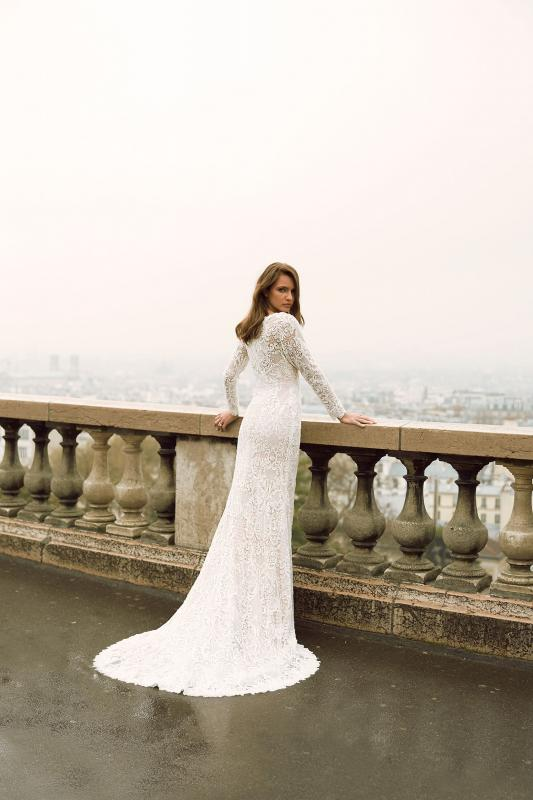 Izadore Ml7719 Full Lace Fitted Gown With Long Lace Sleeves Zip And Sweetheart Necklinewedding Dress Madi Lane Bridal7
