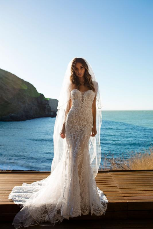 Raine Ml5618 Full Lace Fitted Strapless Gown With Sweetheart Neckline Zip Up Back Mermaid Train Wedding Dress Madi Lane Bridal16