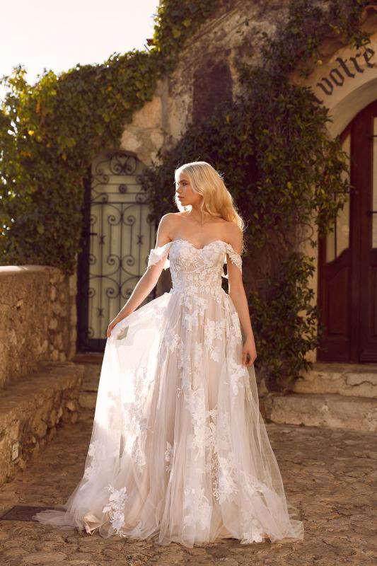 Elora Ml8518 Lace And Tulle Gown With Fitted Bodice And Floaty Tulle Skirt With Detachable Off Shoulder Straps Wedding Dress Madi Lane Bridal1