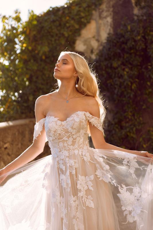 Elora Ml8518 Lace And Tulle Gown With Fitted Bodice And Floaty Tulle Skirt With Detachable Off Shoulder Straps Wedding Dress Madi Lane Bridal2