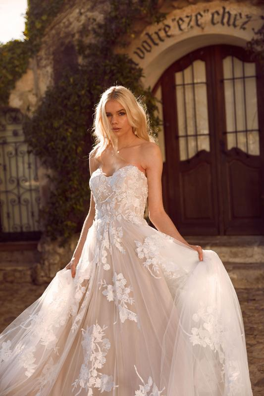 Elora Ml8518 Lace And Tulle Gown With Fitted Bodice And Floaty Tulle Skirt With Detachable Off Shoulder Straps Wedding Dress Madi Lane Bridal5