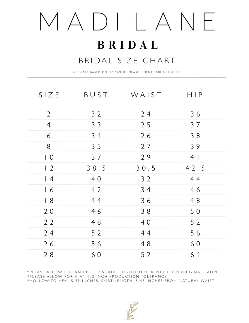 Madi Lane Size Chart.