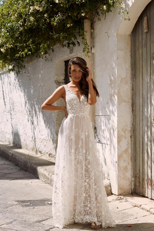 Maisie Ml11365 Full Length Floral Lace With Plunging Neck Wedding Dress Madi Lane Bridal1