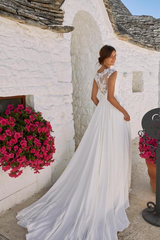 Malone Ml12092 Plunging Neck With Illusion Back Floral Embellishments Crepe Skirt Wedding Dress Madi Lane Bridal1