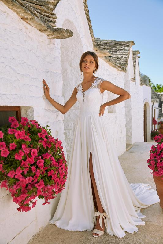 Malone Ml12092 Plunging Neck With Illusion Back Floral Embellishments Crepe Skirt Wedding Dress Madi Lane Bridal2
