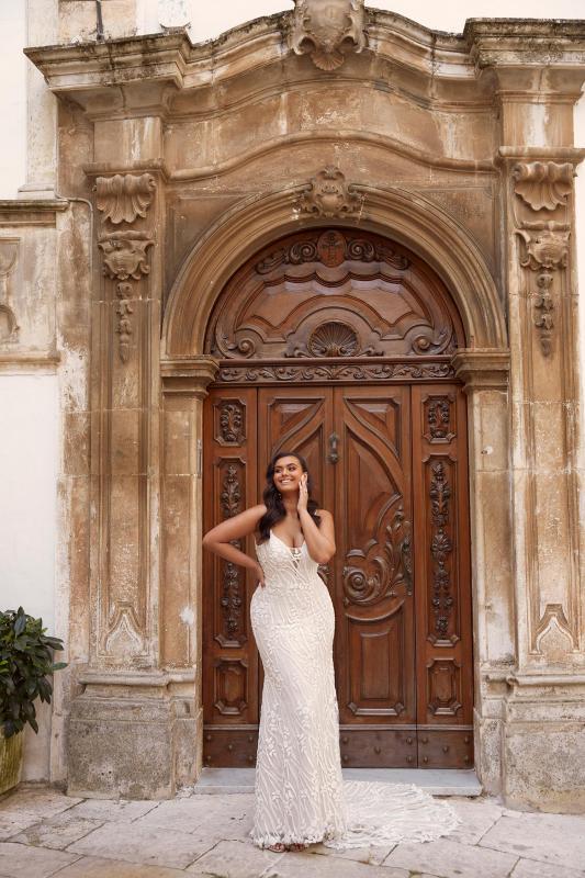 Mandalay Ml13606 Full Length Beaded Floral Lace With Plunging Neck Wedding Dress Madi Lane Bridal1