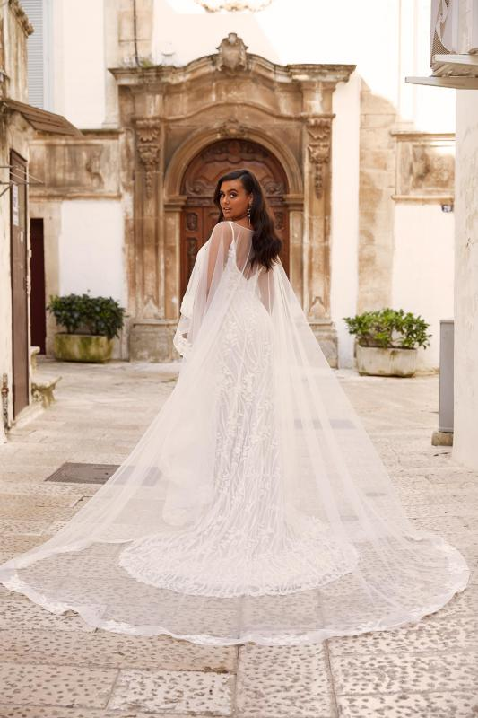 Mandalay Ml13606 Malay C606 Detachable Cape Full Length Beaded Floral Lace With Plunging Neck Wedding Dress Madi Lane Bridal2