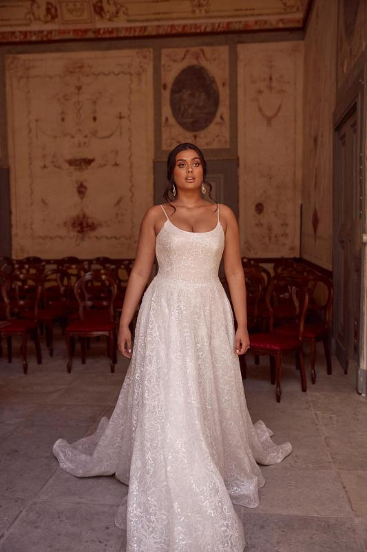 Manhattan Ml13755 Shoe String Strap With Full Length Sequins Wedding Dress Madi Lane Bridal4