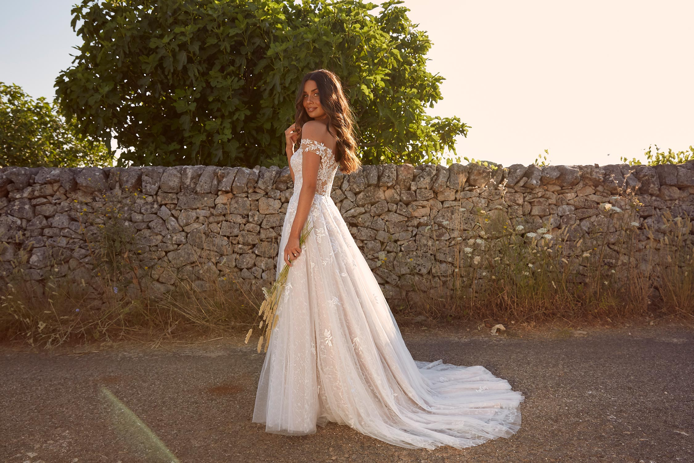 Marchelle Ml10609 Sweet Heart Neck Full Length Floral Lace With Off The Shoulder Straps Wedding Dress Madi Lane Bridal2