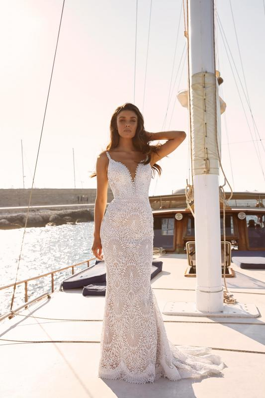 Marley Ml10249 Plunging Neck With Full Length Lace Wedding Dress Madi Lane Bridal1