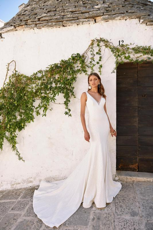 Marlowe Ml12002 Plunging Neck With Sequins Crepe Wedding Dress Madi Lane Bridal1