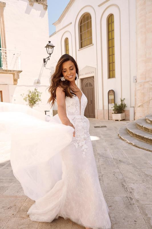 Matisse Ml10462 Shoe String Straps Plunging Neck Floral Lace With Detachable Skirt Wedding Dress Madi Lane Bridal1