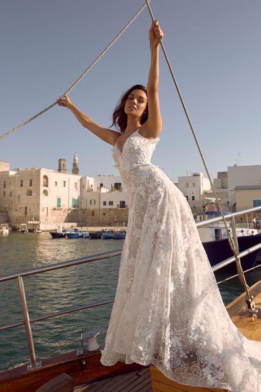 Maymi Ml11601 Shoe String Tie Up Straps With Full Length Floral Lace Wedding Dress Madi Lane Bridal5