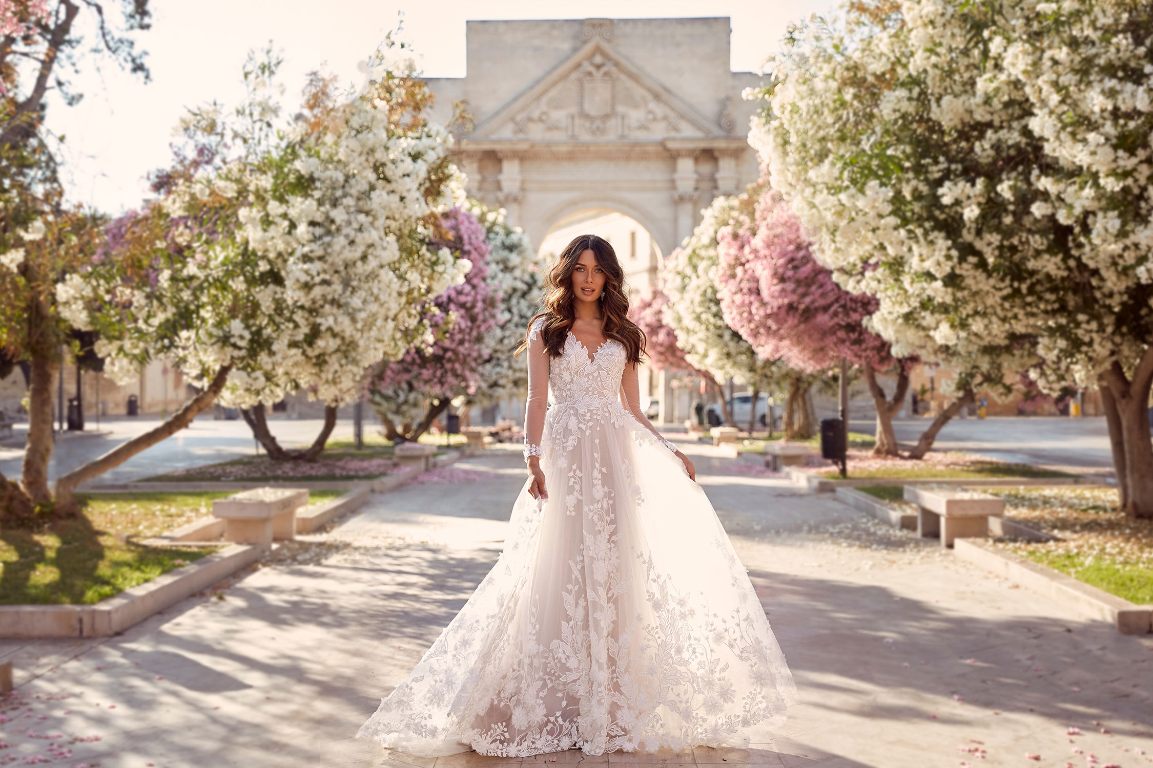 Meadow Ml10994 Full Length Floral Lace Keyhole Back With V Neck And Sleeves Wedding Dress Madi Lane Bridal8