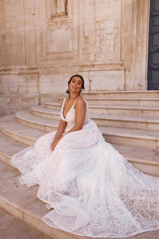 Mercedes Ml13352 Full Length Floral Lace V Neck With Deep V Back Wedding Dress Madi Lane Bridal4