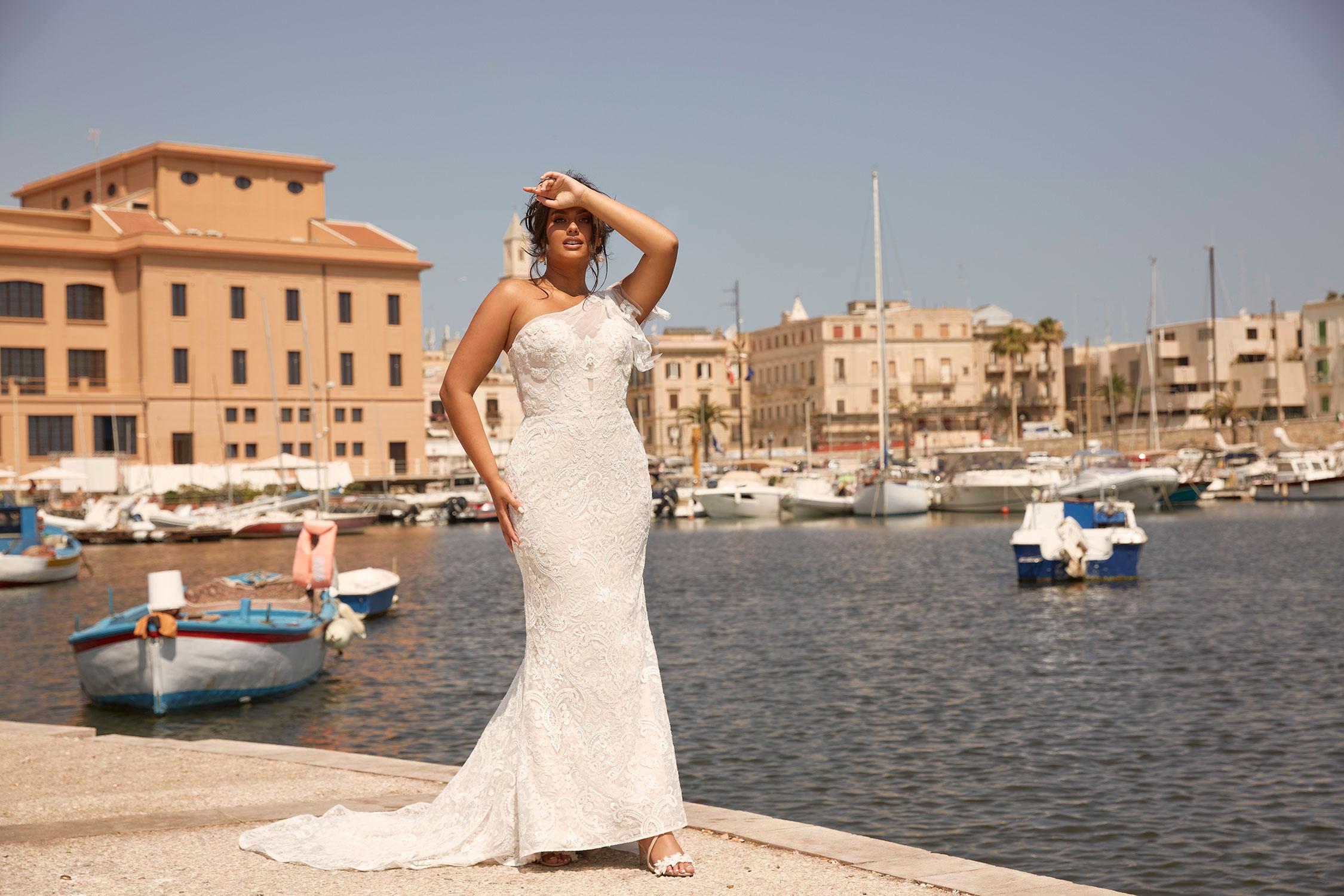Miami Ml13990 Full Length Floral Lace With Single Shoulder Strap Wedding Dress Madi Lane Bridal2