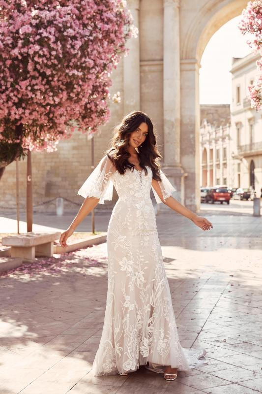 Mila Ml11424 Plunging Neck Floral Lace With Detachable Sleeves Wedding Dress Madi Lane Bridal2