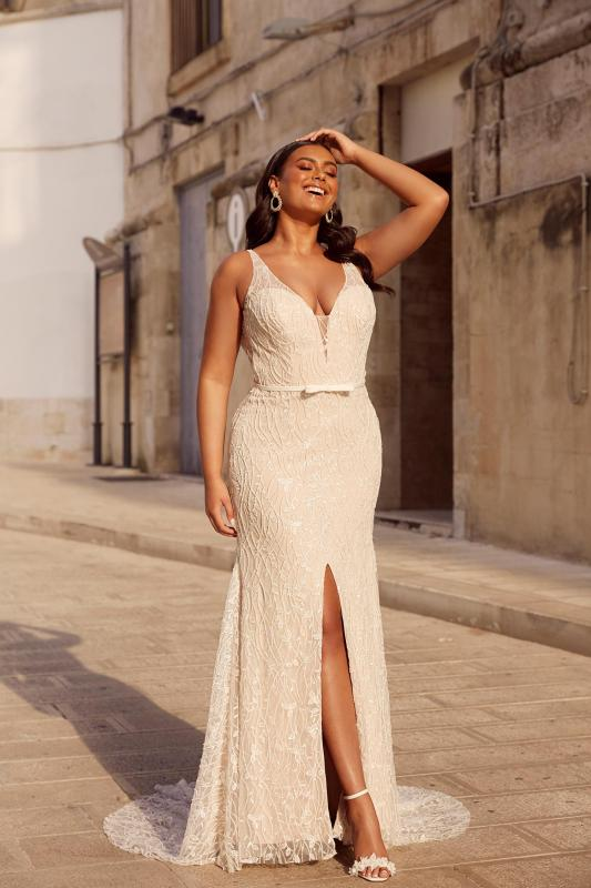 Milan Ml13567 Full Length Beaded Lace Plunging Neck With Detachable Jacket Wedding Dress Madi Lane Bridal2