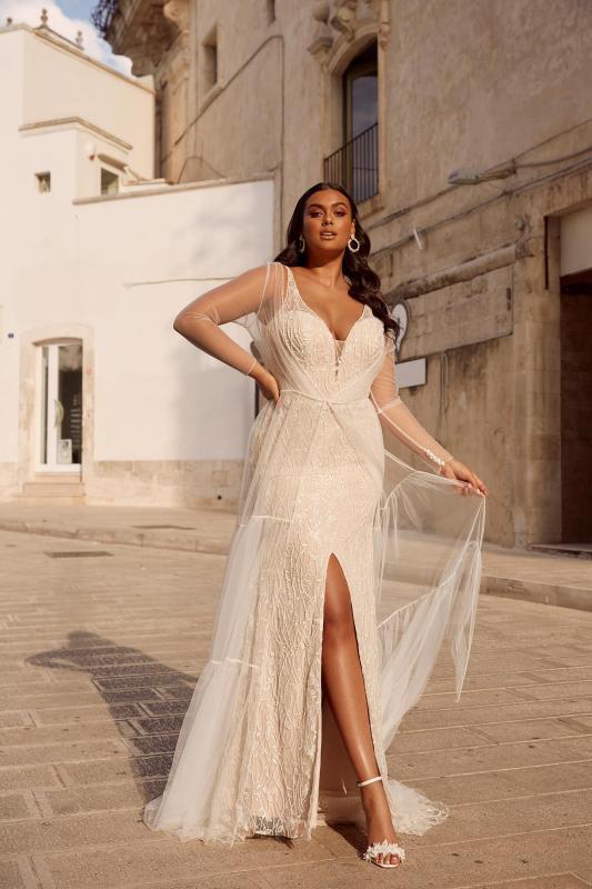 Milan Ml13567 Full Length Beaded Lace Plunging Neck With Detachable Jacket Wedding Dress Madi Lane Bridal3