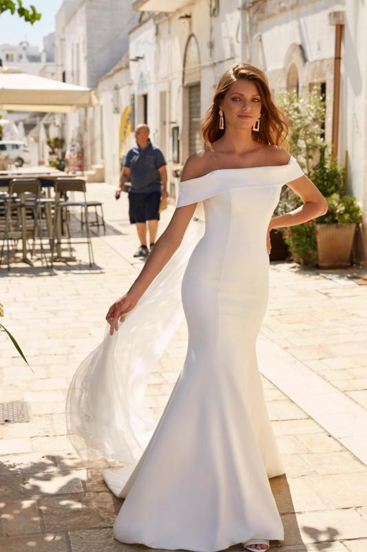 Miles Ml12885 Crepe Gown With Off The Shoulder Straps Zip Up Back With Detachable Cape Wedding Dress Madi Lane Bridal5