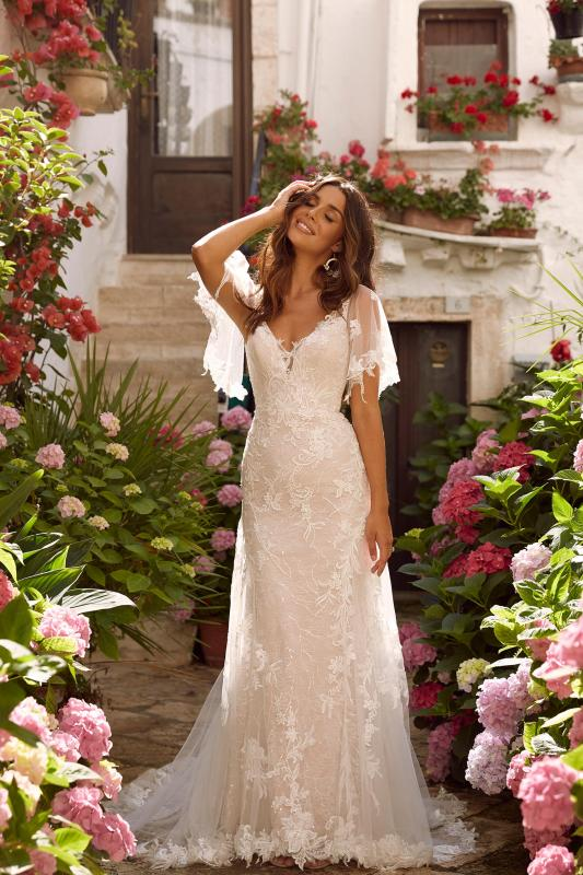 Misha Ml11161 Full Length Floral Lace V Neck With Detachable Sleeves Wedding Dress Madi Lane Bridal4