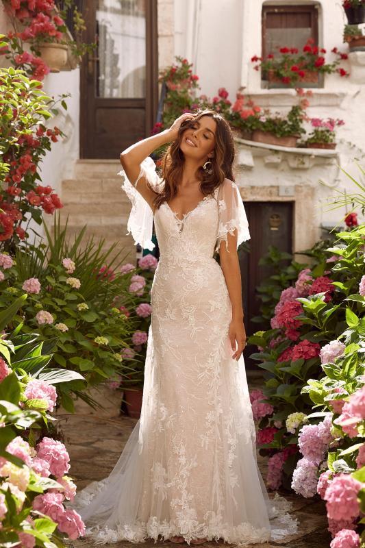 Misha Ml11161 Full Length Floral Lace V Neck With Detachable Sleeves Wedding Dress Madi Lane Bridal4