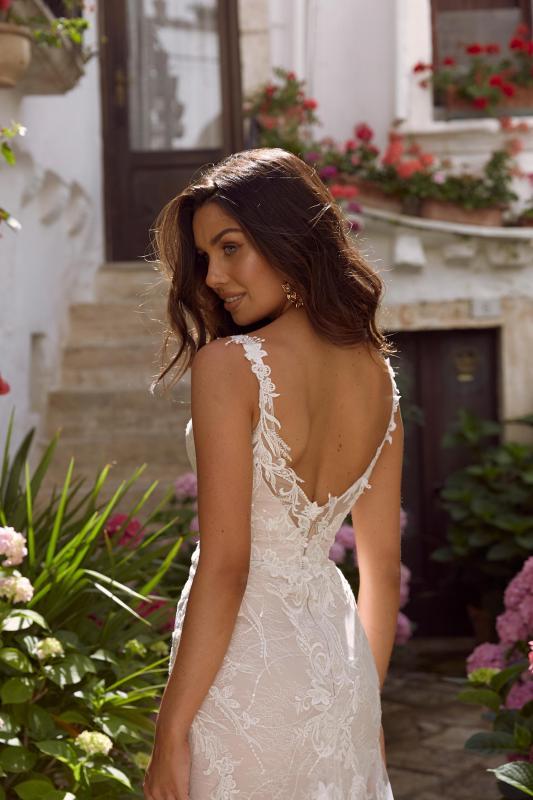 Misha Ml11161 Full Length Floral Lace V Neck With Detachable Sleeves Wedding Dress Madi Lane Bridal9