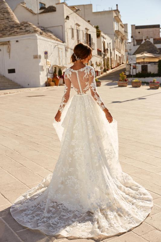 Monahan Ml12669 With Detachable Manning Skirt Ml12772 Illusion Neck With Floral Lace Crepe Skirt Button Up Back Wedding Dress Madi Lane Bridal2