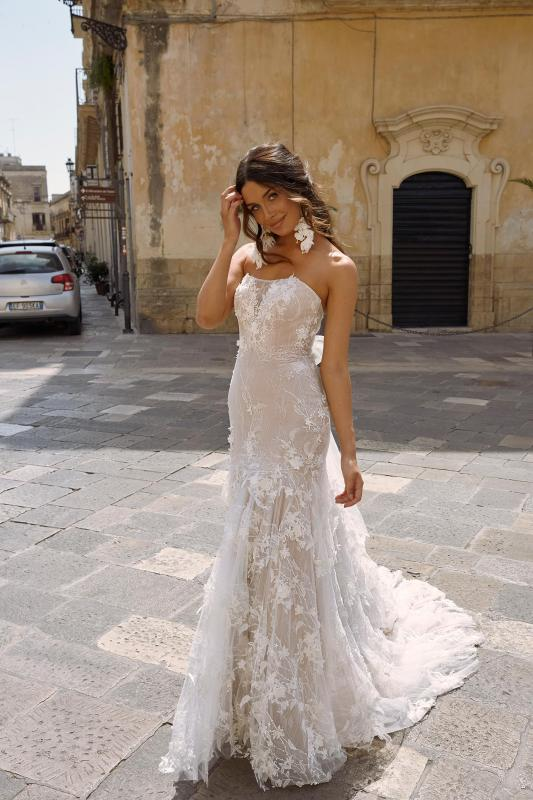 Monet Ml11220 Fitted Strapless Gown With Floral Lace And Tulle Tie Up Bow Wedding Dress Madi Lane Bridal4