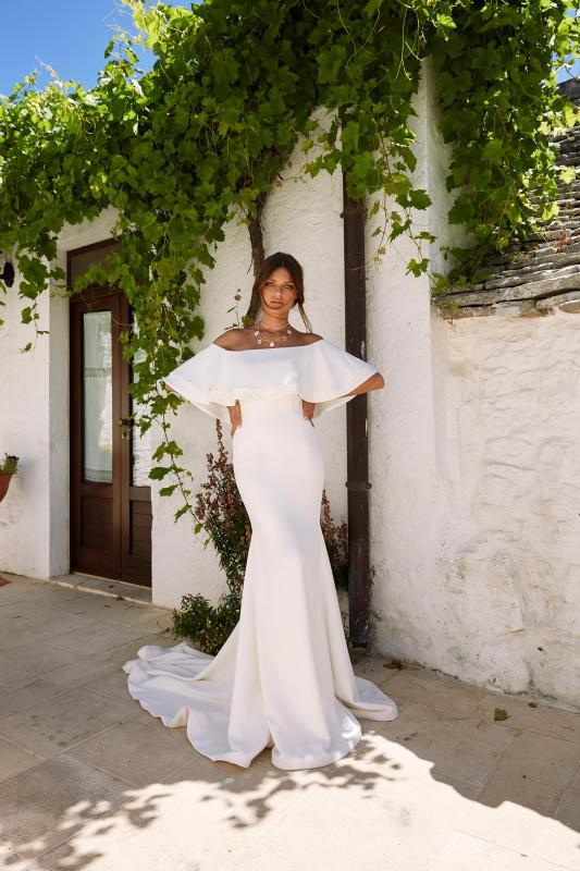 Monroe Ml12019 Crepe Gown With Off The Shoulder Straps Zip Up Back Wedding Dress Madi Lane Bridal1