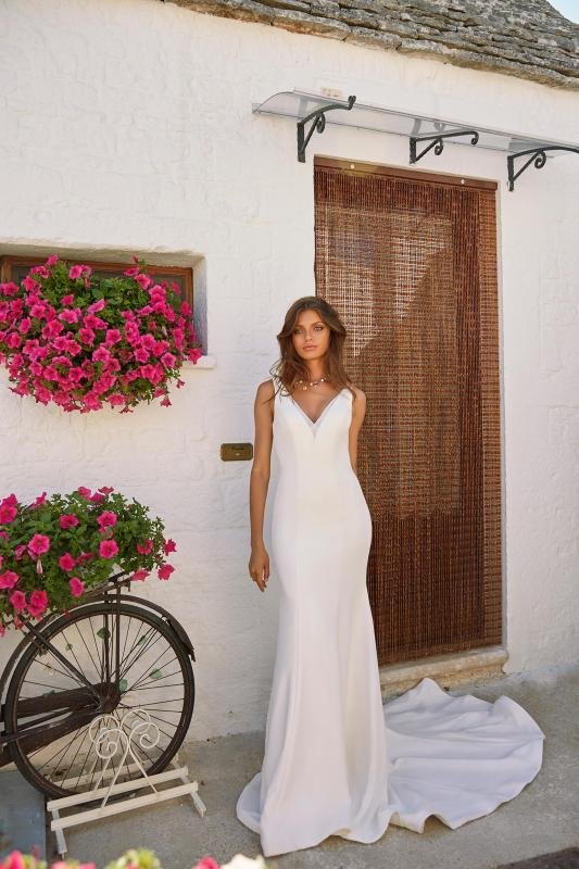 Moran Ml12027 Crepe Gown With V Neck And Detachable Cape Wedding Dress Madi Lane Bridal3