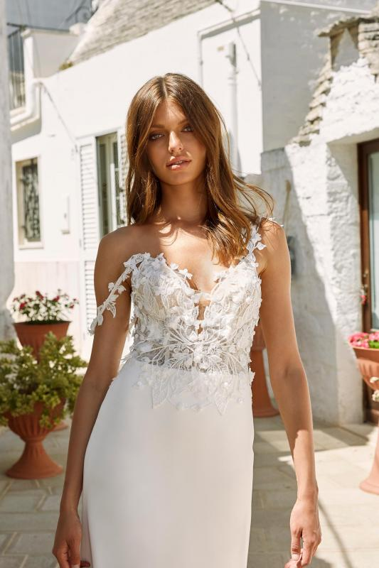 Morgan Ml12544 Floral Lace Bodice With Off The Shoulder Straps Crepe Skirt Wedding Dress Madi Lane Bridal3