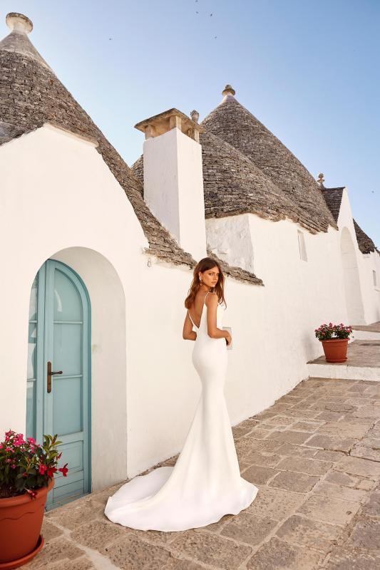 Morrison Ml12364 Plunging Neck With Shoe String Straps Deep V Back Crepe Wedding Dress Madi Lane Bridal1