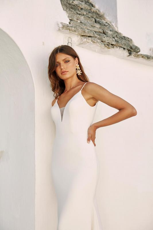 Morrison Ml12364 Plunging Neck With Shoe String Straps Deep V Back Crepe Wedding Dress Madi Lane Bridal4