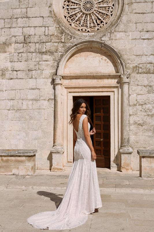 Muse Ml11643 V Back With Full Length Floral Lace Wedding Dress Madi Lane Bridal4