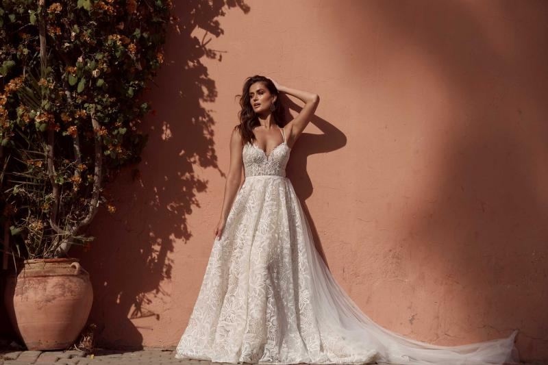 Azaria Ml17518 Full Lace Gown With Plunging Neckline Fitted Bodice And Floaty Skirt Low Back And Zipper Wedding Dress With Detachable Train Madi Lane Bridal3
