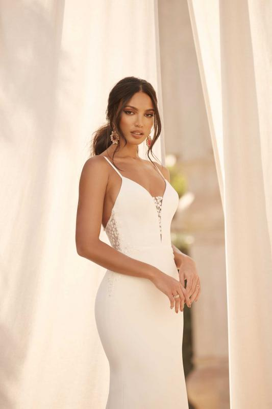 Atlas Ml16177 Full Length Fitted Crepe Gown With Shoe String Staps Plunging Neckline Illusion Back With Zip Clousre And Deatcahble Center Back Bow Wedding Dress Madi Lane Bridal2