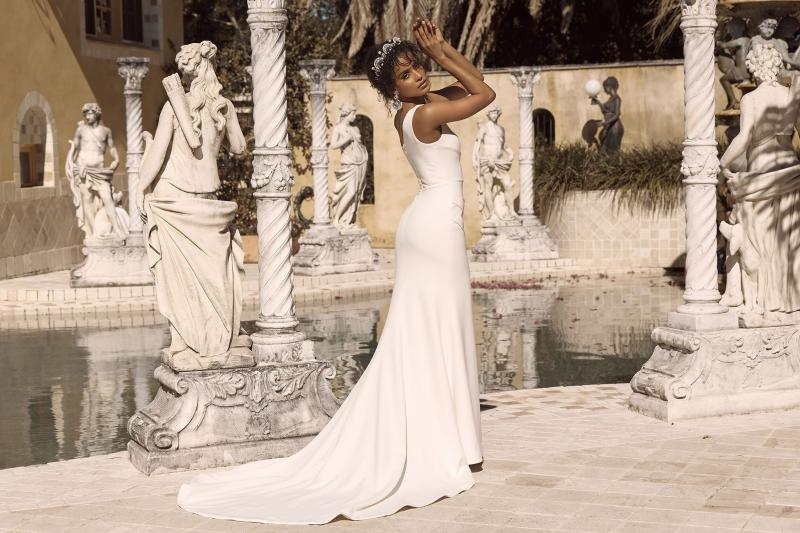 Beau Ml18005 Full Length Fit Flare Silhouette Asymmetrical Neckline And Single Shoulder Bodice With Floral Lace Appilques Mirror Back Finish Wedding Dress Madi Lane Bridal5